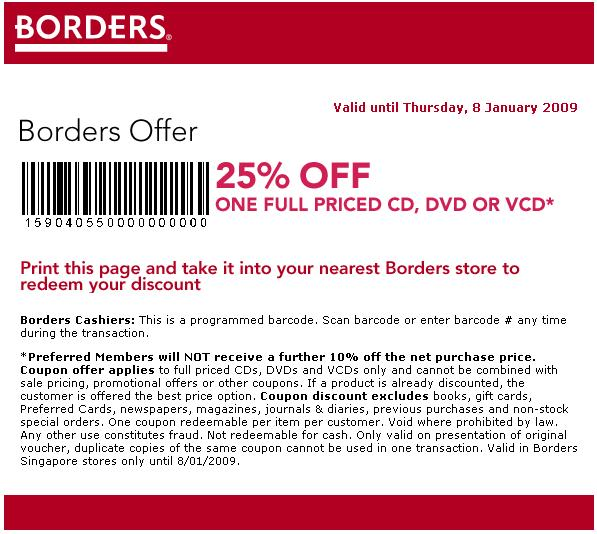 Borders Singapore January Coupons